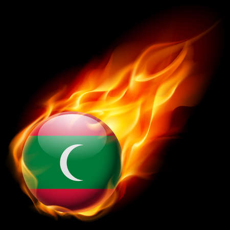 burn: Flag of Maldives as round glossy icon burning in flame