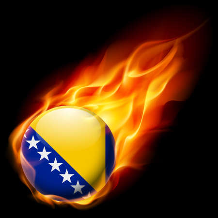 burn: Flag of Bosnia and Herzegovina as round glossy icon burning in flame Illustration