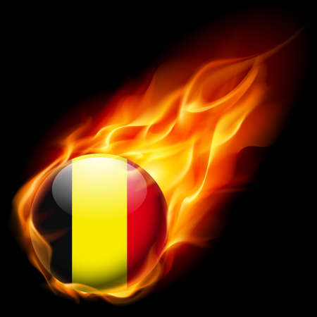 quemadura: Flag of Belgium as round glossy icon burning in flame Vectores