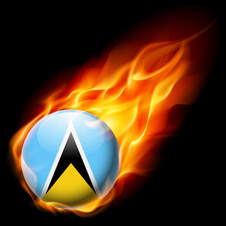 quemadura: Flag of Saint Lucia as round glossy icon burning in flame