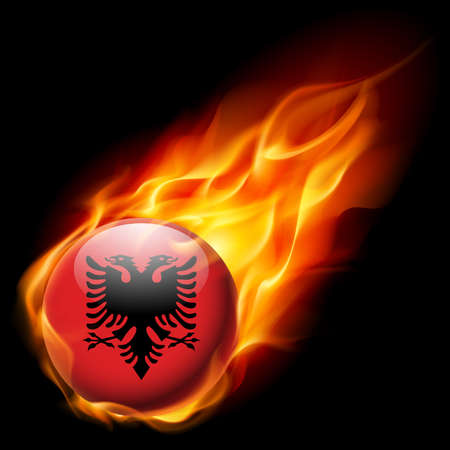 burn: Flag of Albania as round glossy icon burning in flame