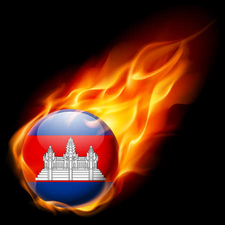 cambodian flag: Flag of Cambodia as round glossy icon burning in flame