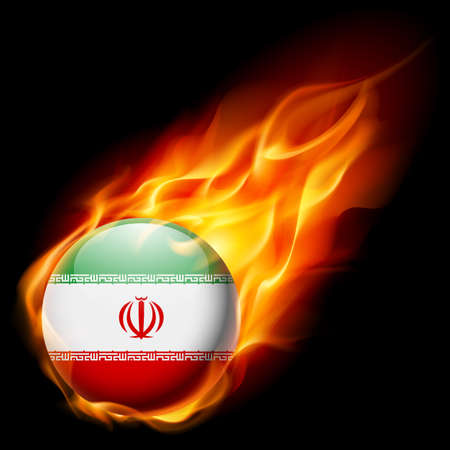 burn: Flag of Iran as round glossy icon burning in flame