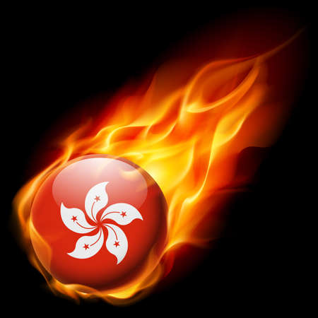 burn: Flag of Hong Kong as round glossy icon burning in flame