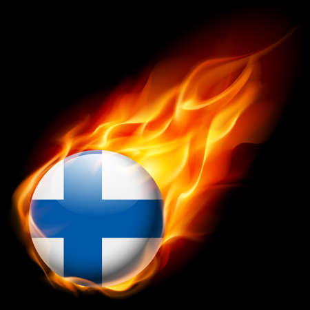 burn: Flag of Finland as round glossy icon burning in flame