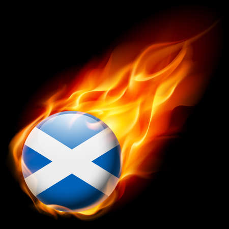 burn: Flag of Scotland as round glossy icon burning in flame Illustration