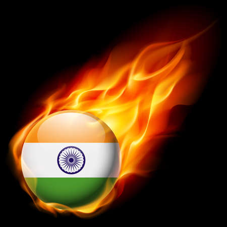 burn: Flag of India as round glossy icon burning in flame Illustration