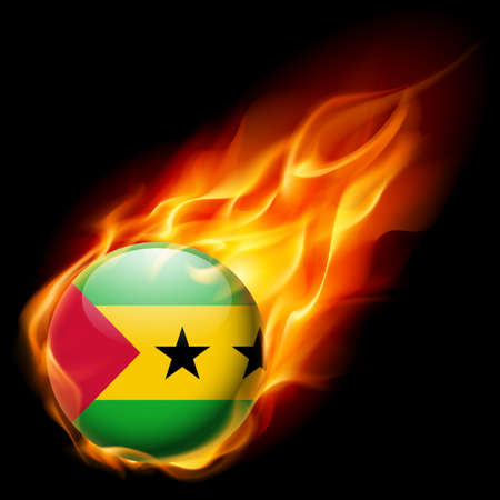 tome: Flag of Sao Tome and Principe as round glossy icon burning in flame