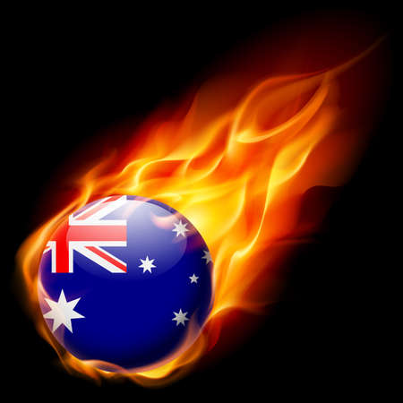 quemadura: Flag of Australia as round glossy icon burning in flame Vectores