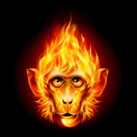 Roodharige Fire Monkey geïsoleerd op een zwarte achtergrond Stock Illustratie