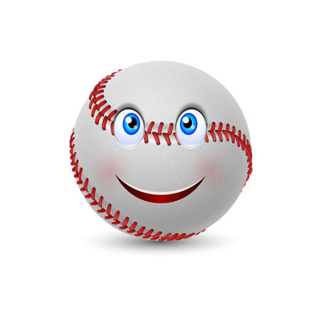 fastball: Cartoon baseball with smiling face on white background
