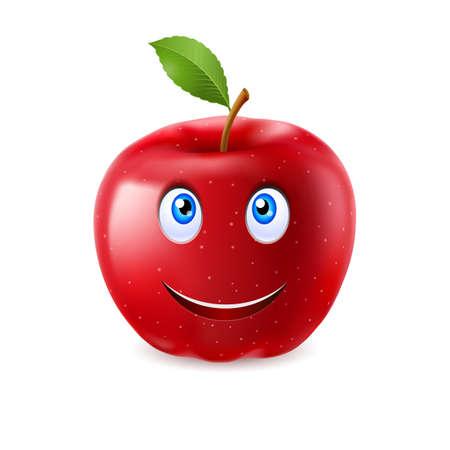 caras graciosas: Manzana de la historieta roja con una sola hoja y la cara sonriente feliz Vectores