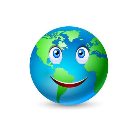 planeten: Illustration des lächelnden Planeten Erde auf weiß