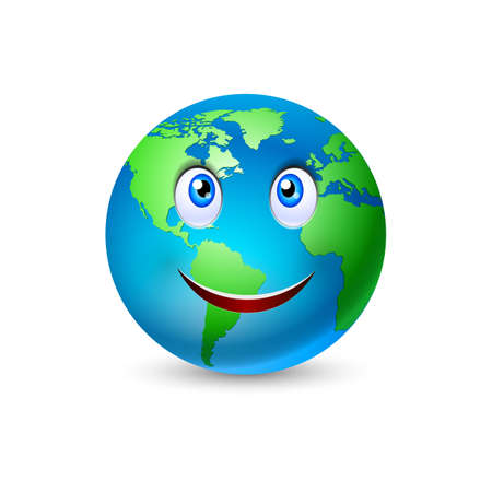 Illustration of the smiling planet Earth on white Ilustração