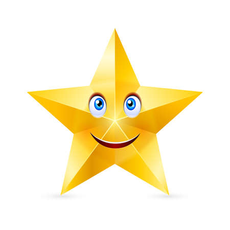 star cartoon: Cartoon smiling star with blue eyes on white background