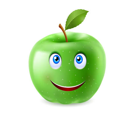 green face: Green cartoon apple with a single leaf and happy smiling face Illustration