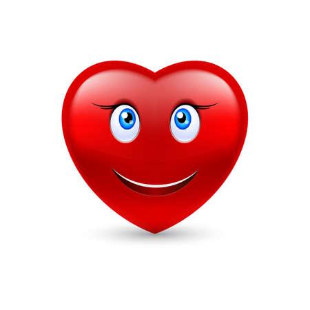 shiny hearts: Cartoon Smiling Female Heart on white background