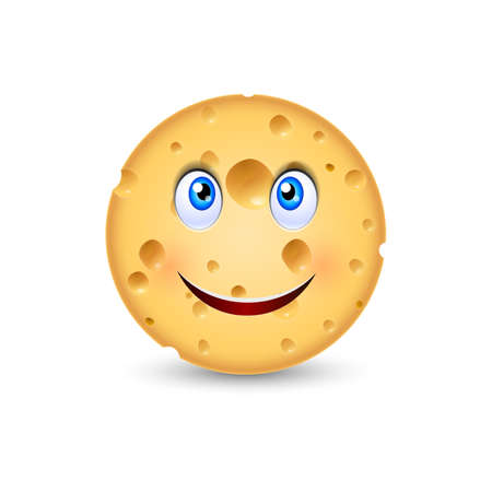 edam: Cartoon illustration of Swiss Cheese with smiling face Illustration