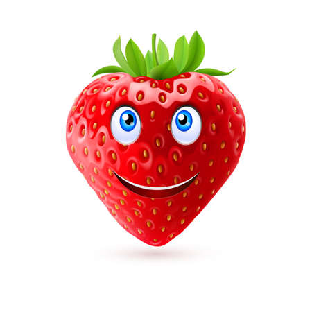 laughing face: Strawberry with smiling face on white background Illustration