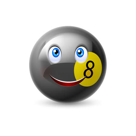 illustration isolated: Glossy cartoon billiard ball with smiling face and shadow for sporting mascot