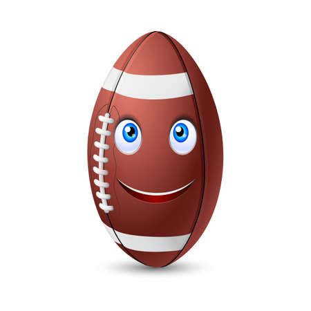 brown leather: Fun happy brown leather football or rugby ball with a cute smiling face Illustration