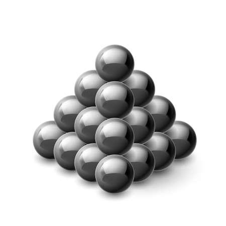 magnetic: Pyramid of magnetic black balls isolated white Illustration