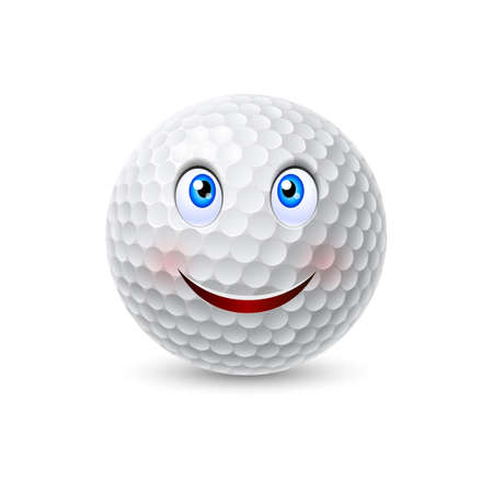golf cartoon characters: Happy smiling white golf ball cartoon character Illustration