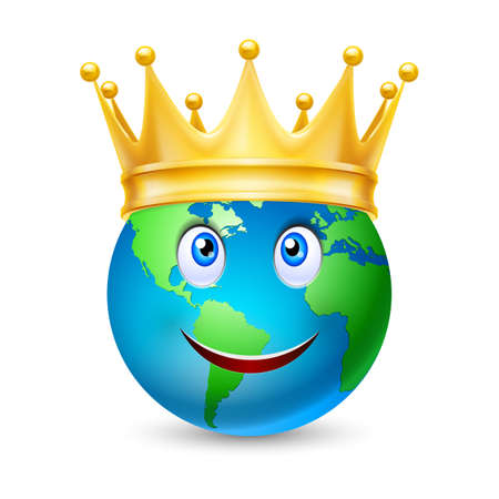 eye ball: Golden crown on the globe with smiling face, isolated on white Illustration