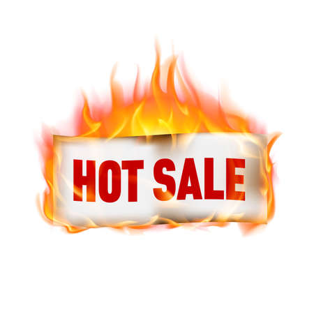fervent: Label hot sale in fire, isolated on white Stock Photo