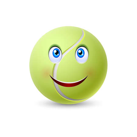 face  illustration: Ball for tennis with smiling face isolated on white background