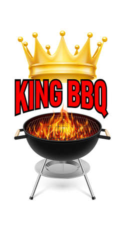 barbecue stove: King BBQ  banner grill with fire isolated on white