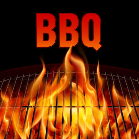 Closeup BBQ grill fire on black background