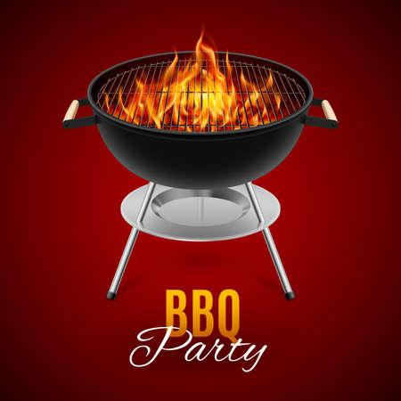 BBQ party banner grill met vuur geïsoleerd op rood Stock Illustratie