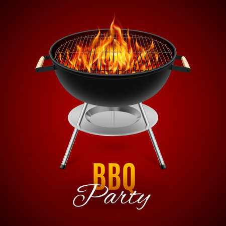 BBQ party banner grill with fire isolated on red Banco de Imagens - 48126152