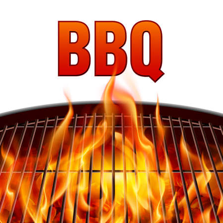 Closeup BBQ grill fire on white background