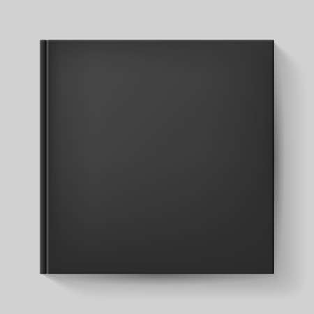 notebook cover: Notebook with black cover. Illustration on gray