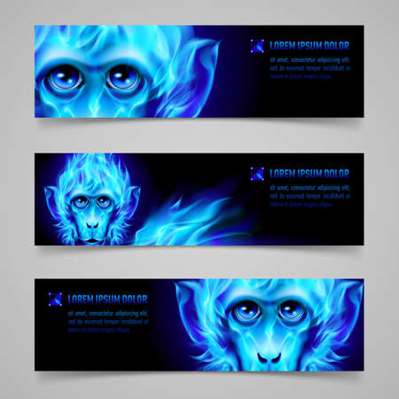 blue flame: Set of banners with Monkey head in blue flame Illustration