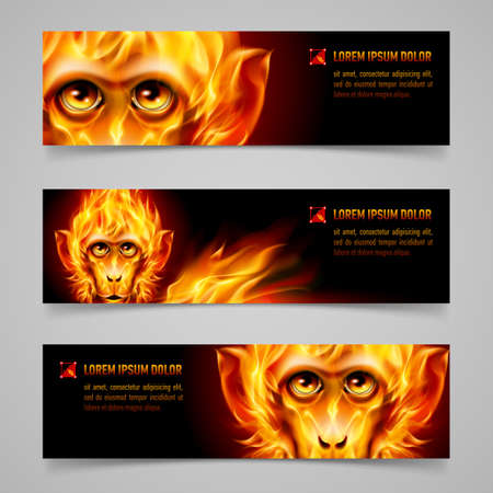 Set of banners with Monkey head in orange flame