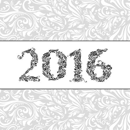 florid: Elegant white banner for year Twenty-Sixteen over ornate floral pattern background