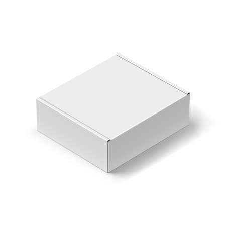 elevated: Close up Carton Box with the Realistic Shadow on White Illustration