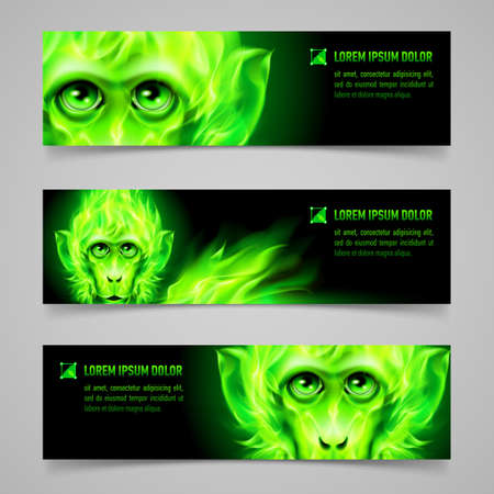 Set of banners with Monkey head in green flame