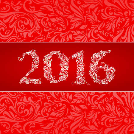 floral decoration: Elegant red banner for year Twenty-Sixteen over ornate floral pattern background Illustration