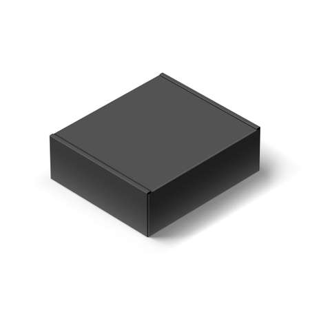Close up Black Carton Box with the Realistic Shadow on White Illustration