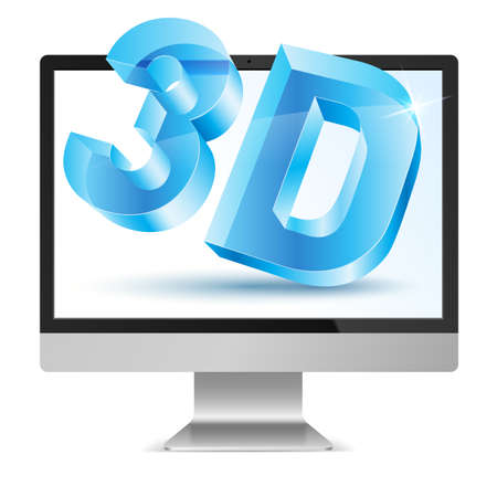 full hd: Full HD Computer Monitor with 3D symbol in Screen
