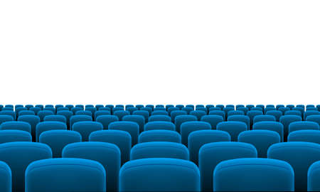 at the theater: Rows of Cinema or Theater Blue Seats Illustration