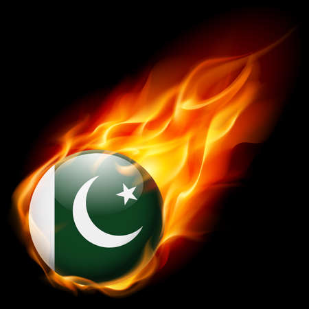 burn: Flag of Pakistan as round glossy icon burning in flame