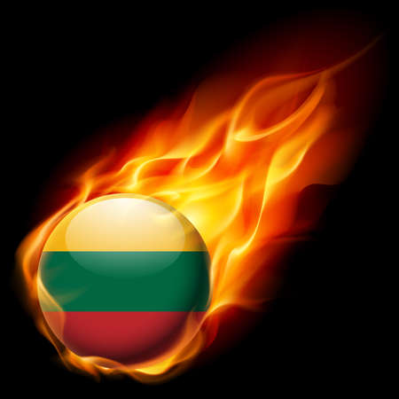 burn: Flag of Lithuania as round glossy icon burning in flame