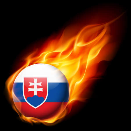 slovakian: Flag of Slovakia as round glossy icon burning in flame Illustration