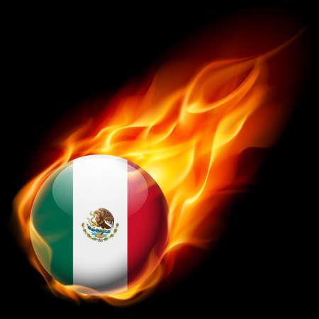 bandera mexicana: Bandera de México como redonda que quema en la llama brillante icono Vectores