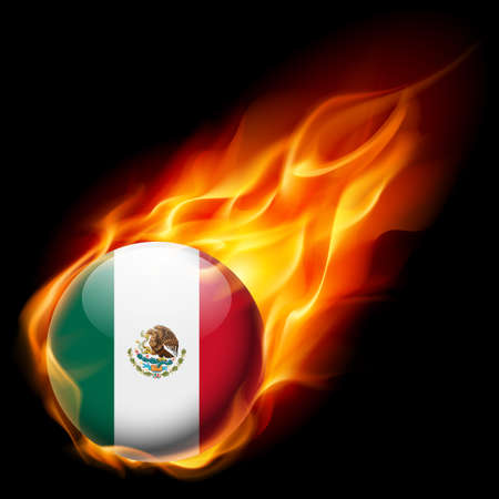 drapeau mexicain: Drapeau du Mexique comme icône ronde brillante qui brûle dans la flamme